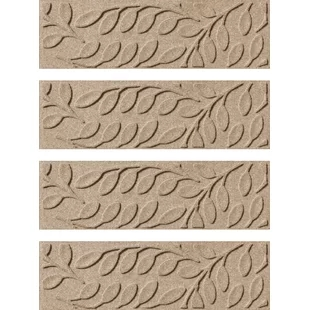 Brown Tan Stair Treads Joss Main | Decorative Rubber Stair Treads | Modern Exterior Stair | Pattern | Pie Shaped | Abrasive | Dark Wood Step