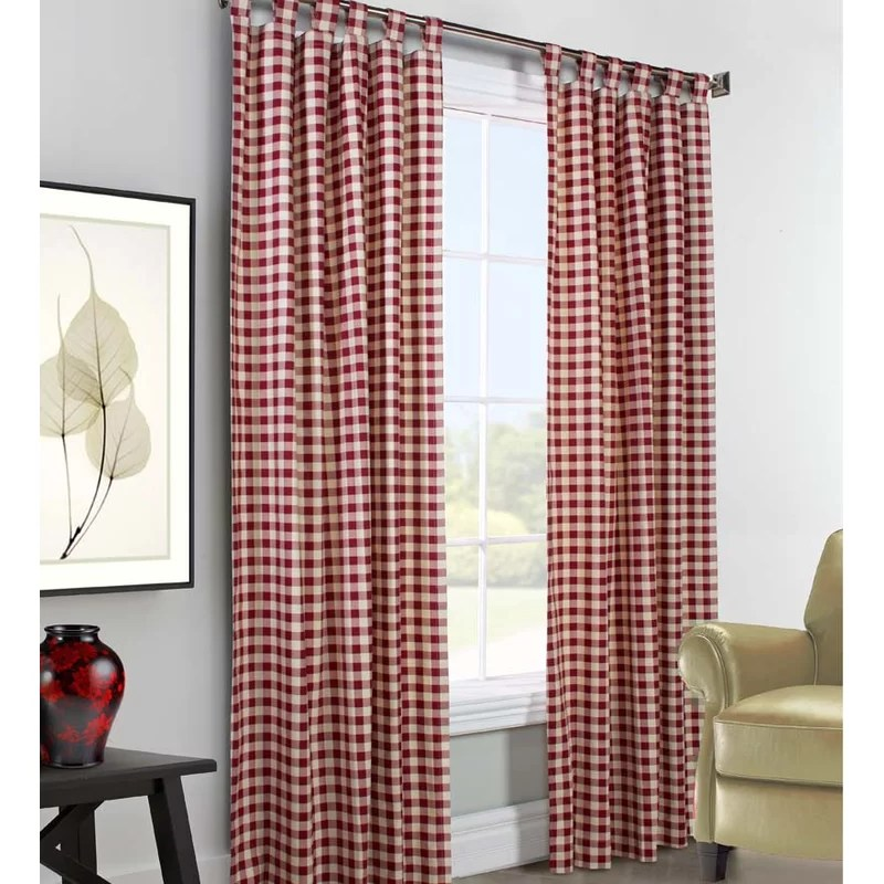 thermalogic check cotton blend plaid room darkening thermal tab top curtain panels