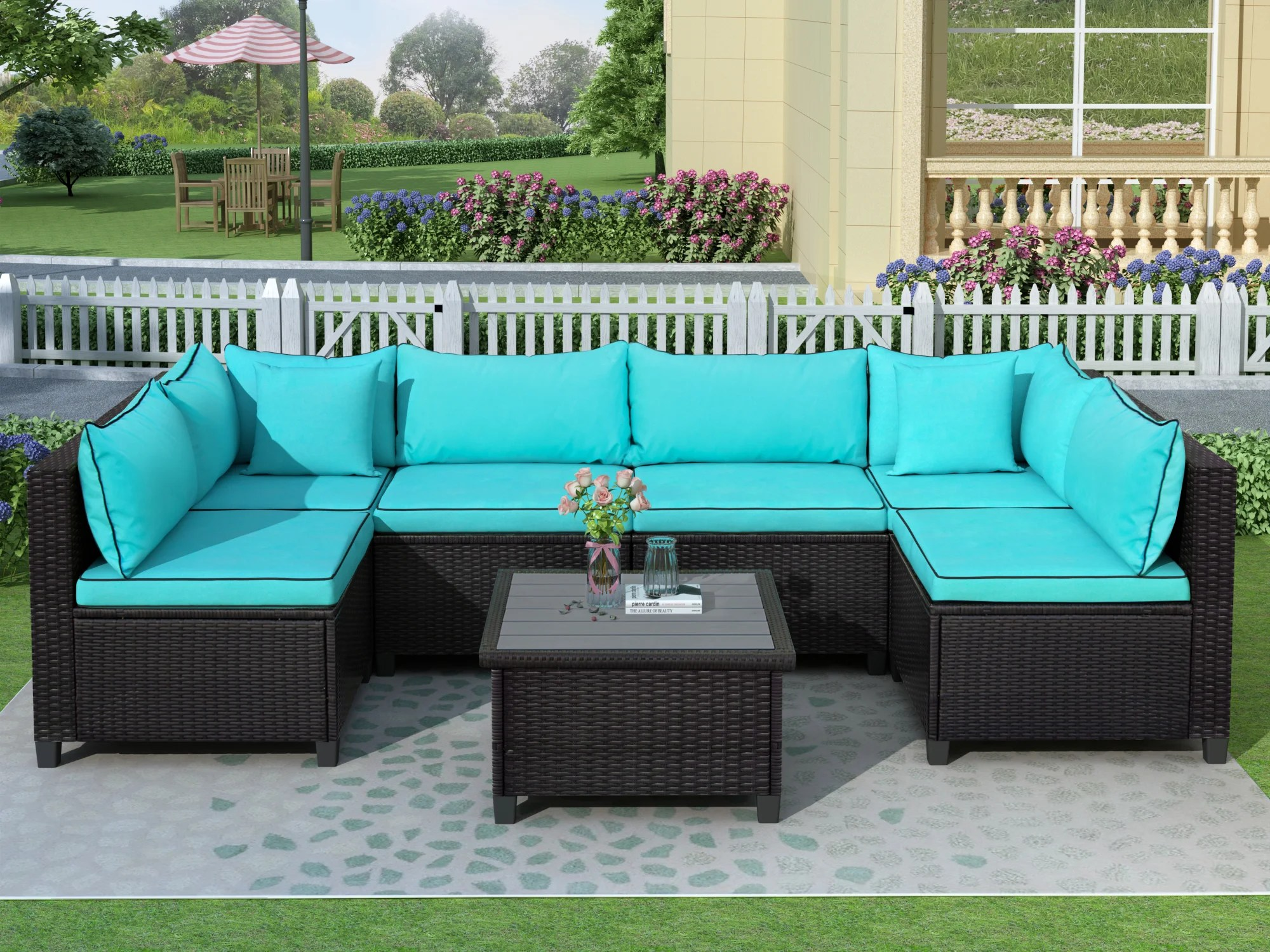 quality rattan wicker patio set u shape sectional outdoor furniture set with cushions and accent pillows green