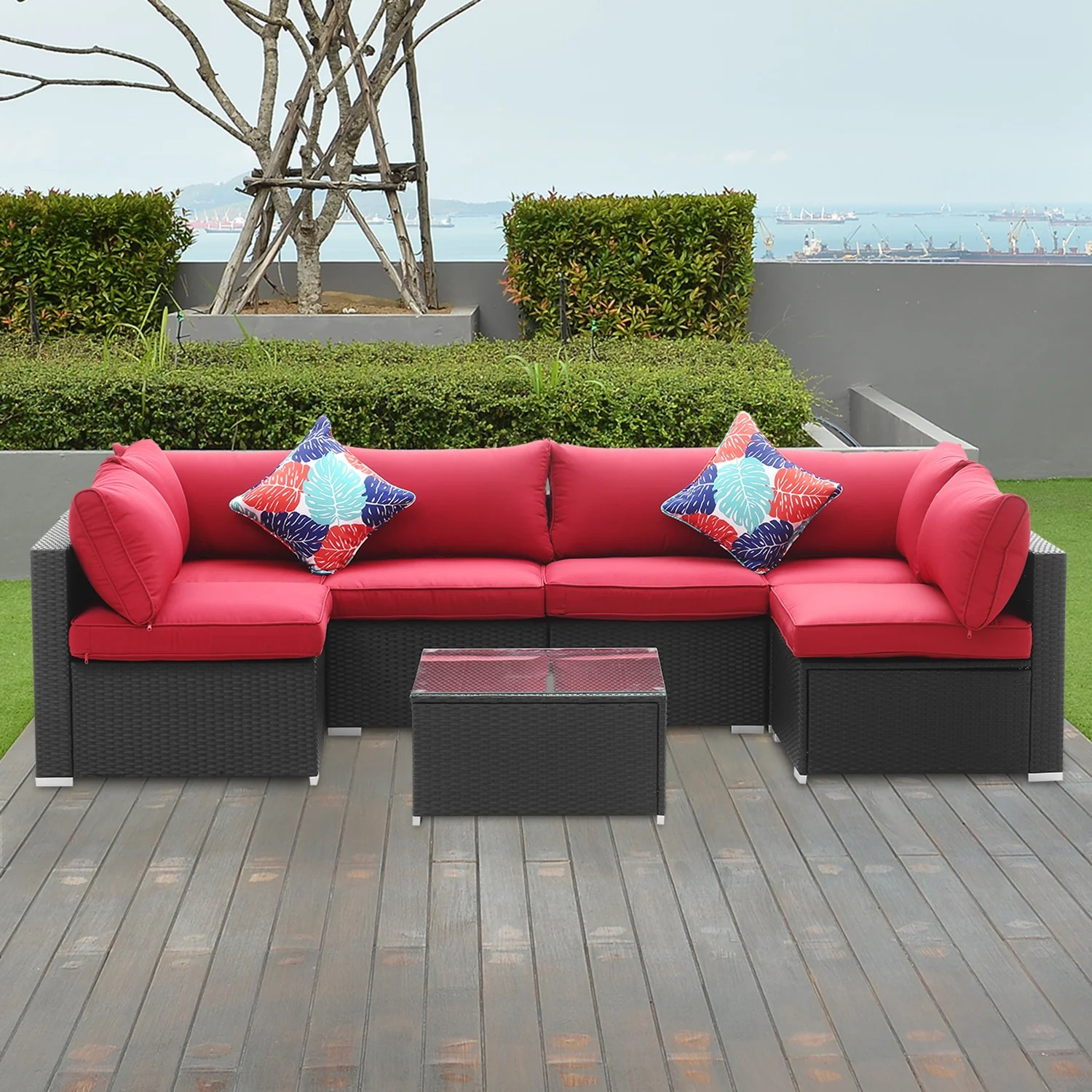 breccan patio furniture on clearance 7 piece rattan sectional seating group with cushions