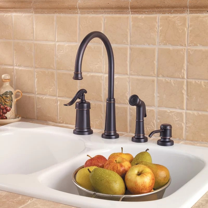 ashfield single handle kitchen faucet with side spray and soap dispenser