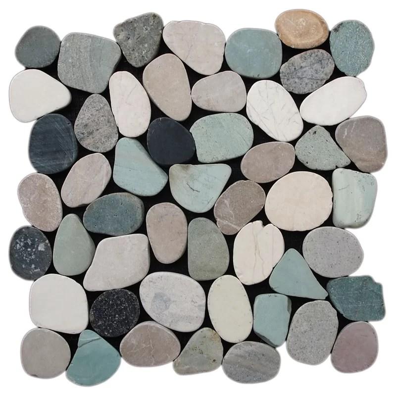 sliced pebble 11 5 x 11 5 natural stone mosaic tile