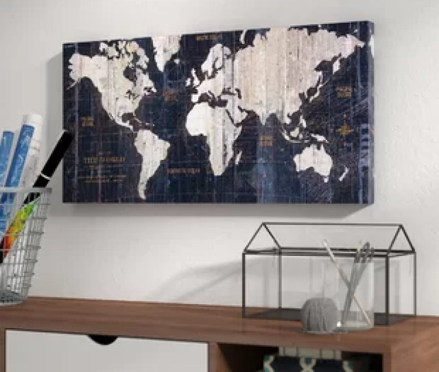Old World Map Blue Graphic Art On Wrapped Canvas