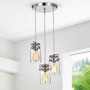 deidra 3 light cluster jar pendant