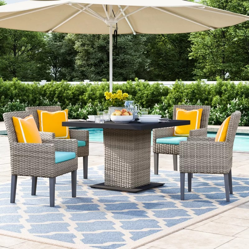 rochford square 4 person 39 5 long dining set with cushions