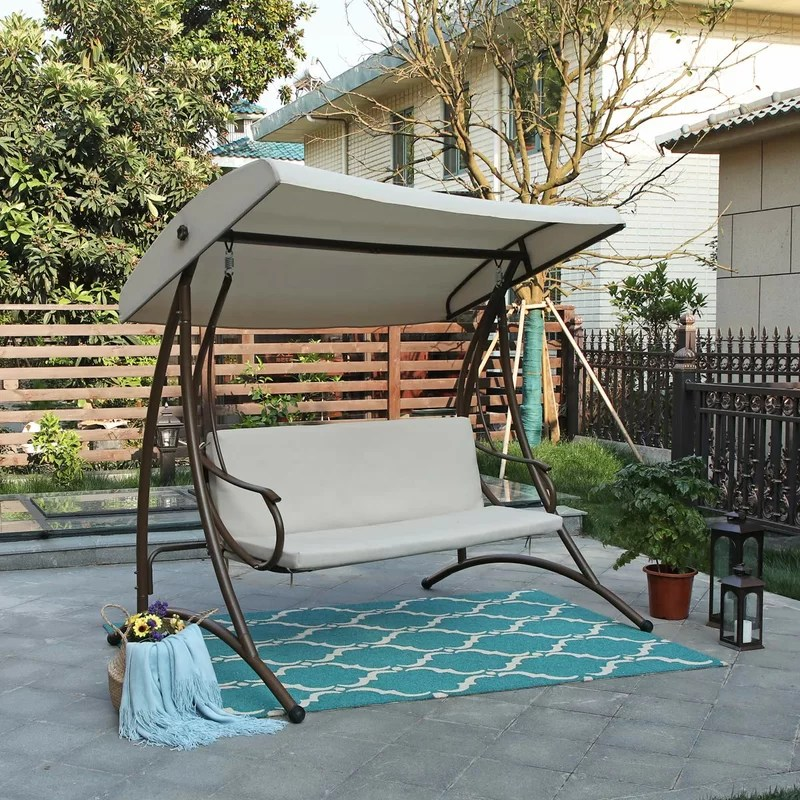 carl outdoor steel porch swing with stand