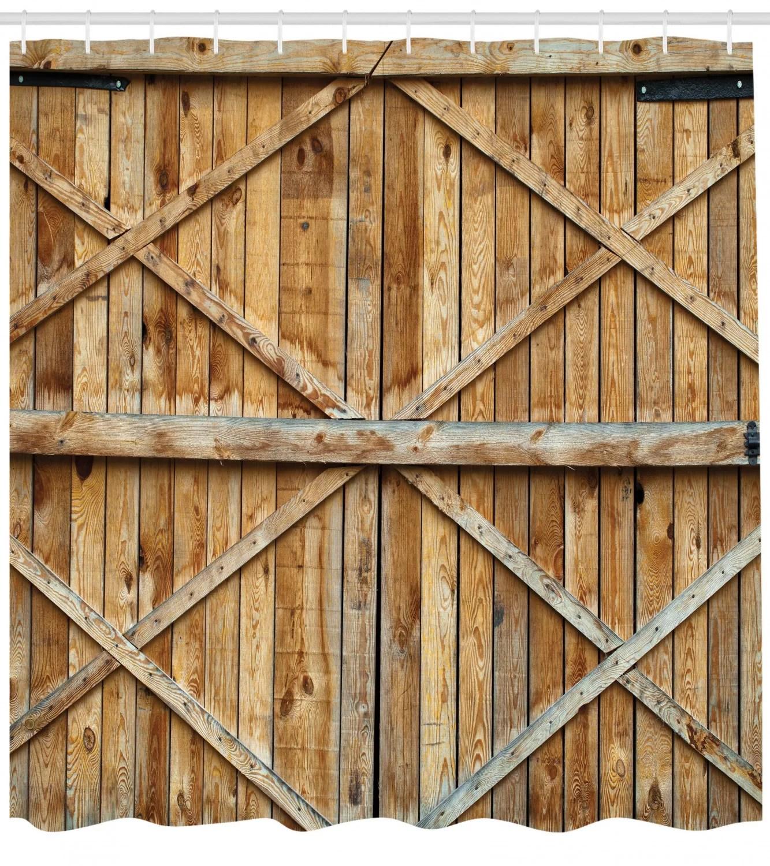 rustic wooden timber door plank shower curtain hooks
