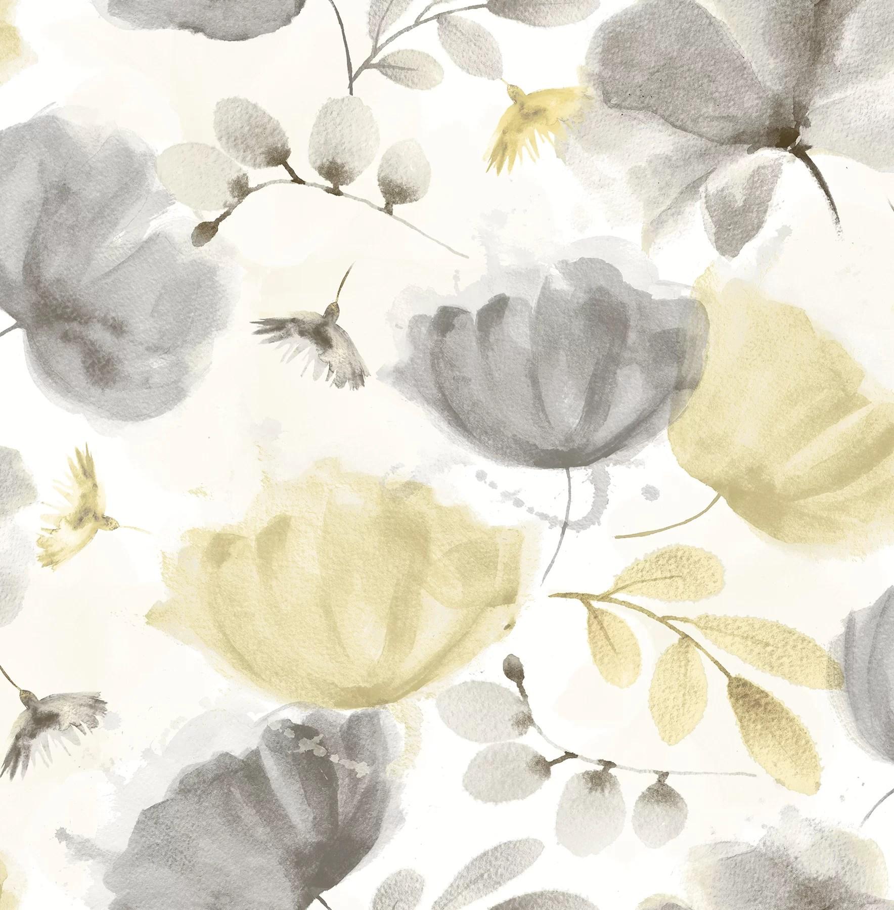 Ebern Designs Zahra Turquoise Floral Wallpaper Wayfair