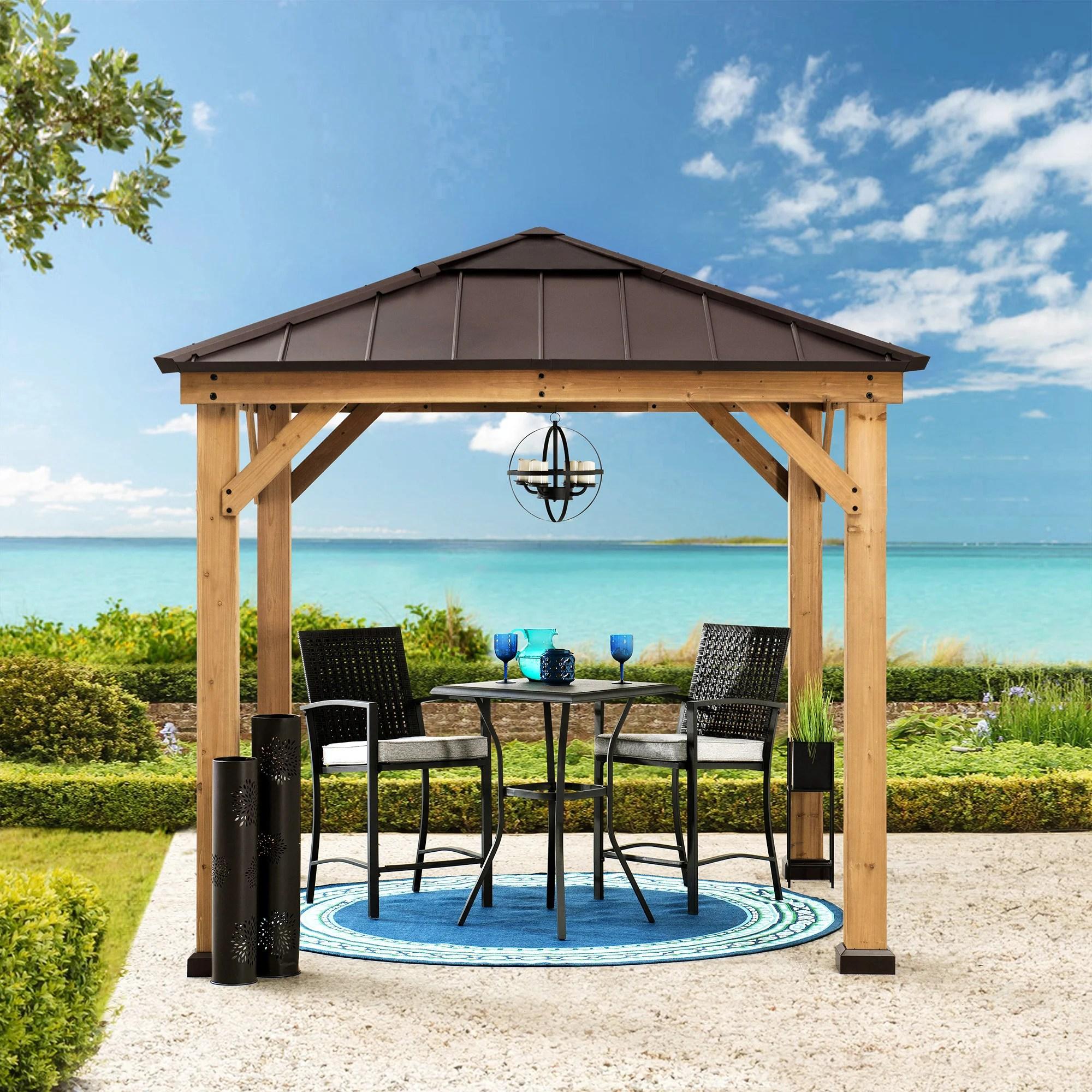 solid wood patio gazebo