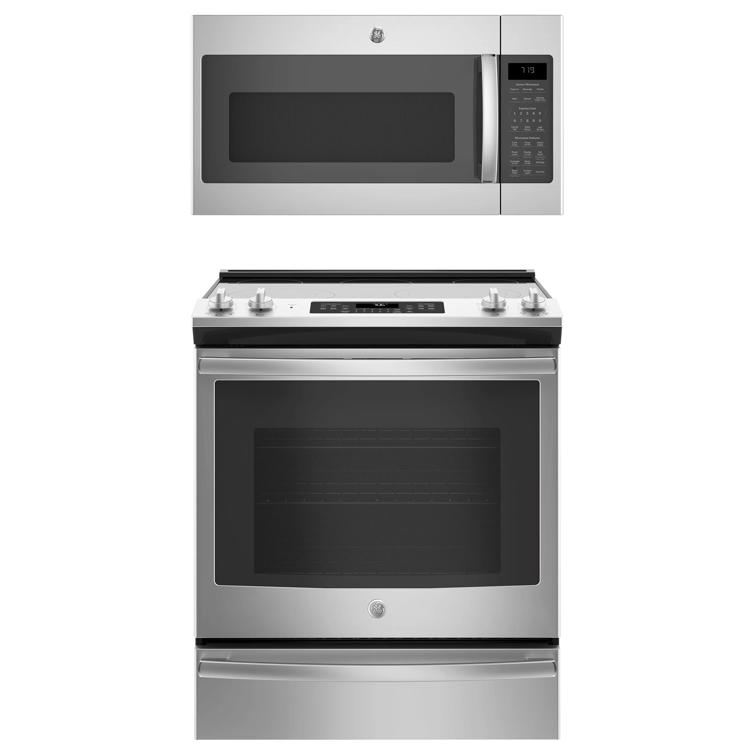 freestanding ranges tools home improvement ge 2 piece stainless steel kitchen package with 30 slide in range and over the range microwave hood
