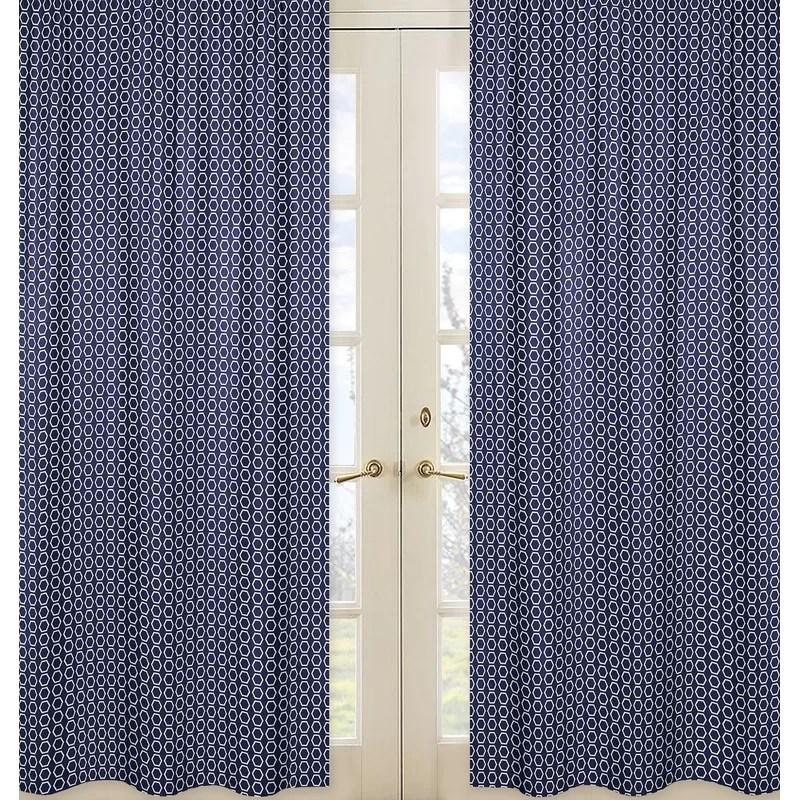 arrow hexagon print geometric semi sheer rod pocket curtain panels