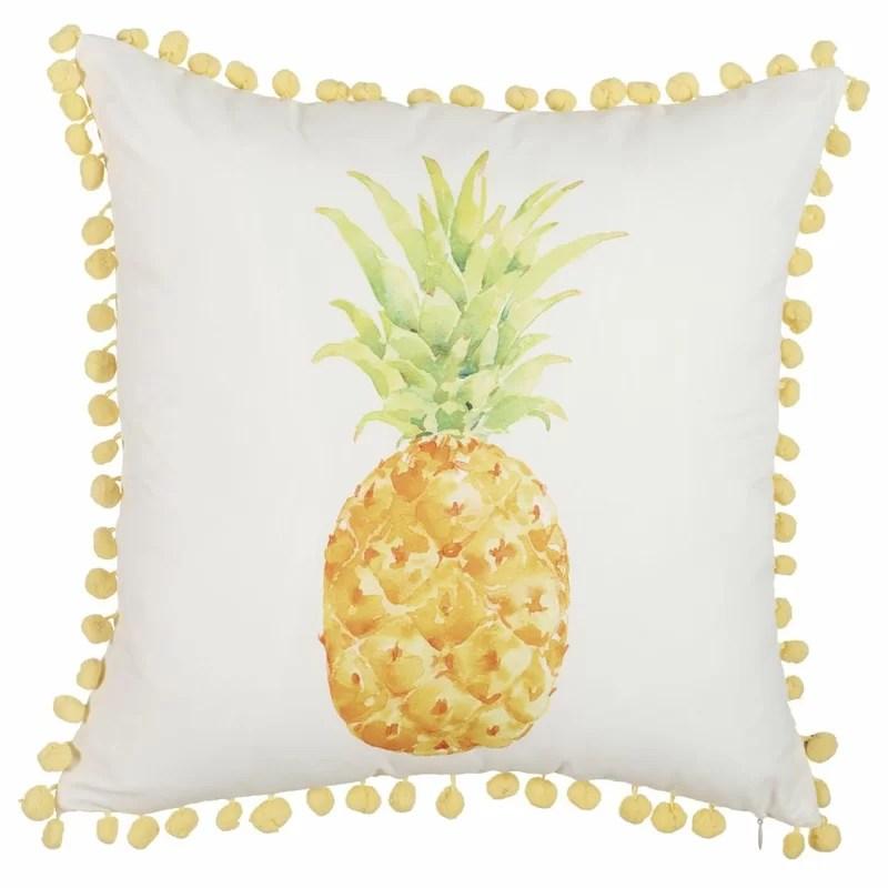 shah one print pineapple with mini pom pom edging throw pillow
