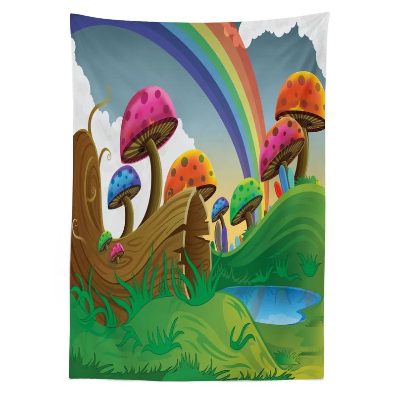 East Urban Home Ambesonne Mushroom Tablecloth Countryside Sunny Playful Environment Foliage Rainbow Spring Scenery Kids Room Rectangular Table Cover For Dining Room Kitchen Decor 52 X 70 Multicolor Wayfair
