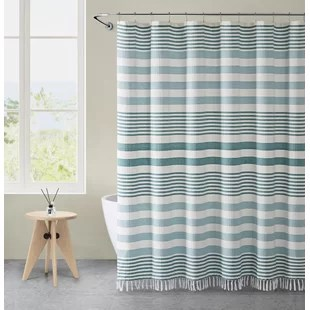 placencia stripe tassel single shower curtain