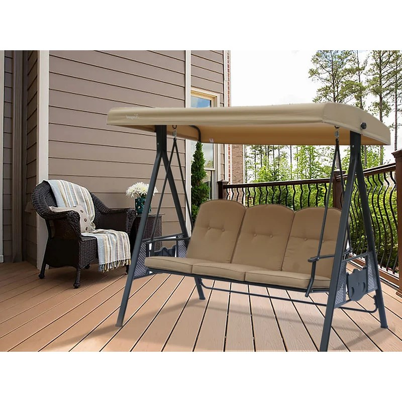 herbert 3 person outdoor duluxe with thick comfortable cushion waterproof winter rain cover porch swing with stand