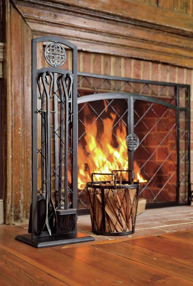 plow & hearth 4 piece steel fireplace tools set & reviews | wayfair