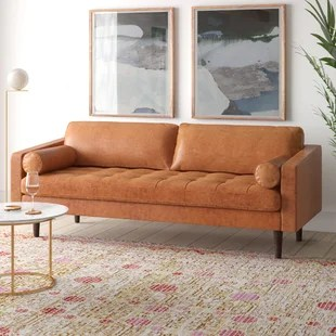 kate genuine leather 88 5 square arm sofa