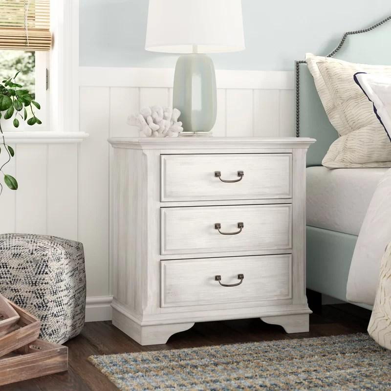 trenton 3 drawer nightstand in antique white
