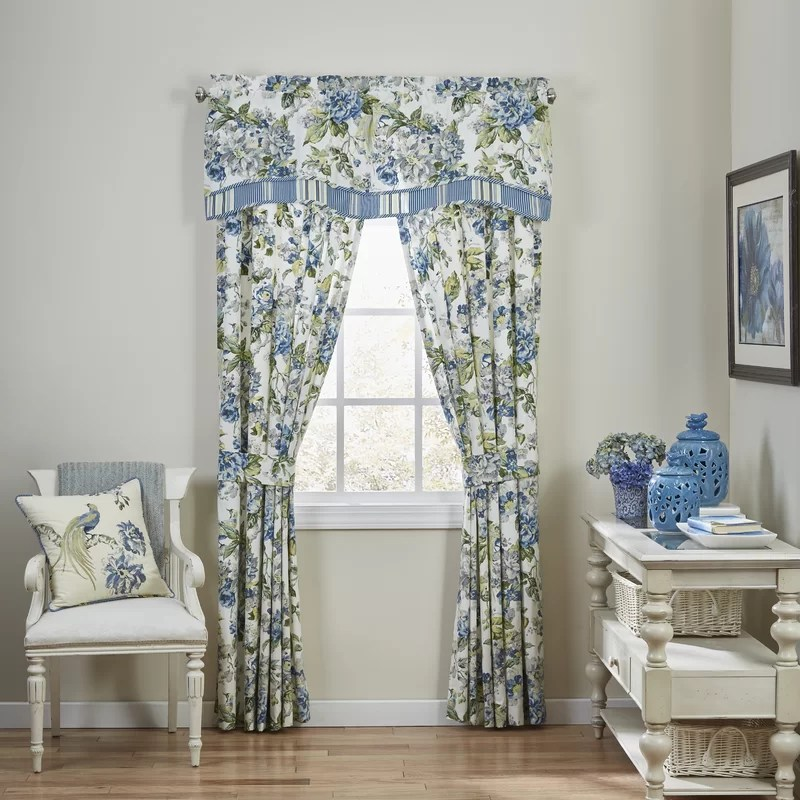 waverly scalloped valance blue with