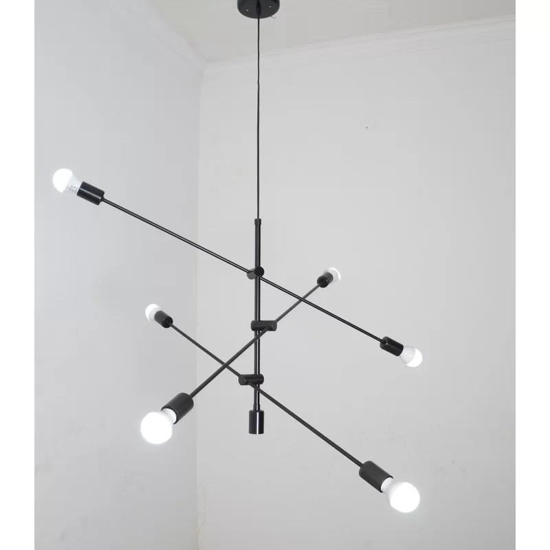doug 6 light unique modern linear chandelier