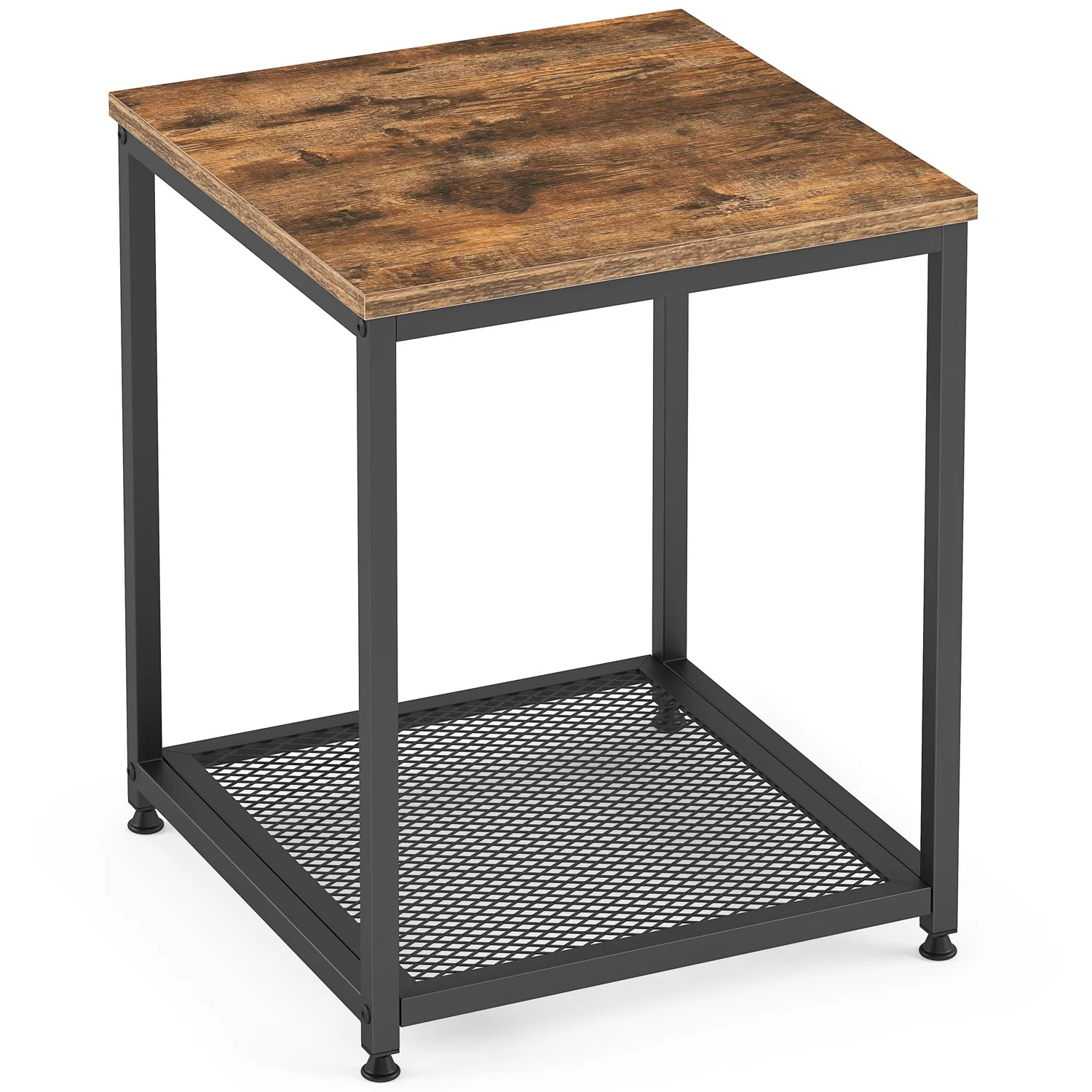 industrial end table 2 tier with storage shelf rustic brown
