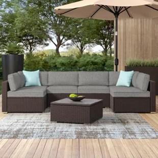 bozman 7 piece outdoor patio furniture chocolate brown wicker sofa w dark grey cushions coffee table 2 turquoise pillows incl waterproof cover