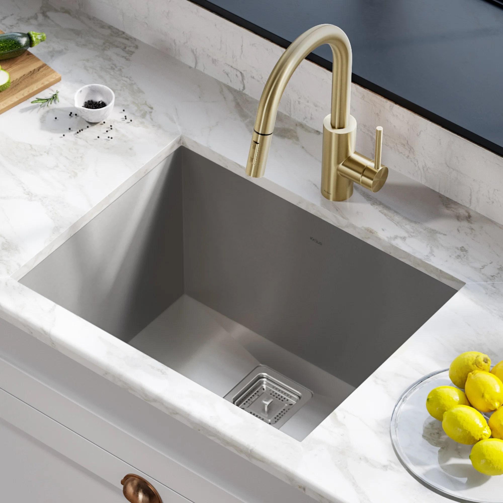 pax zero radius 24 l x 19 w undermount single bowl stainless steel kitchen sink