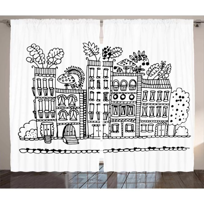 Apartment Décor Graphic Print Room Darkening Rod Pocket Curtain Panels