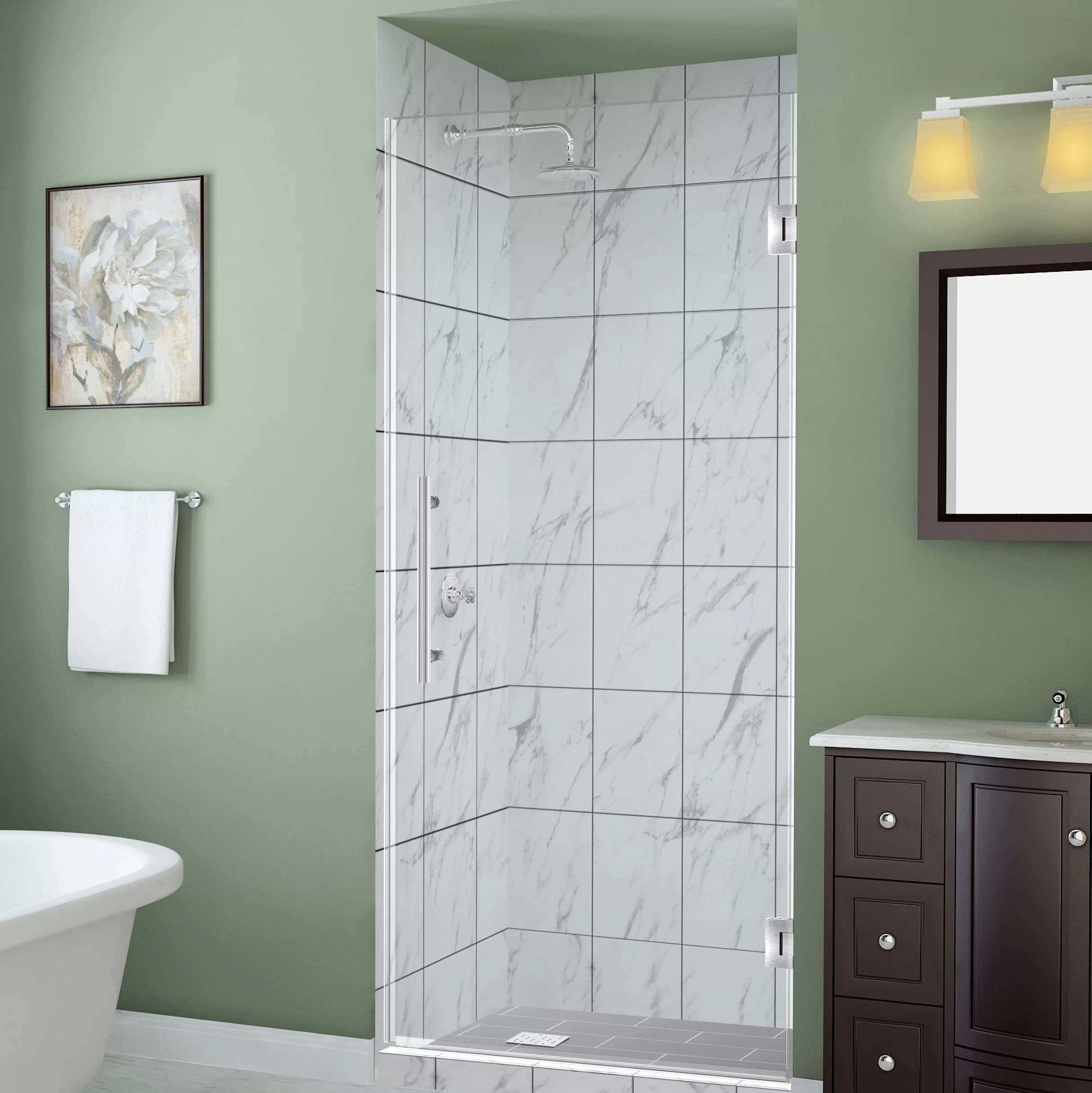 Belmore Gs 47 X 72 Hinged Frameless Frosted Shower Door