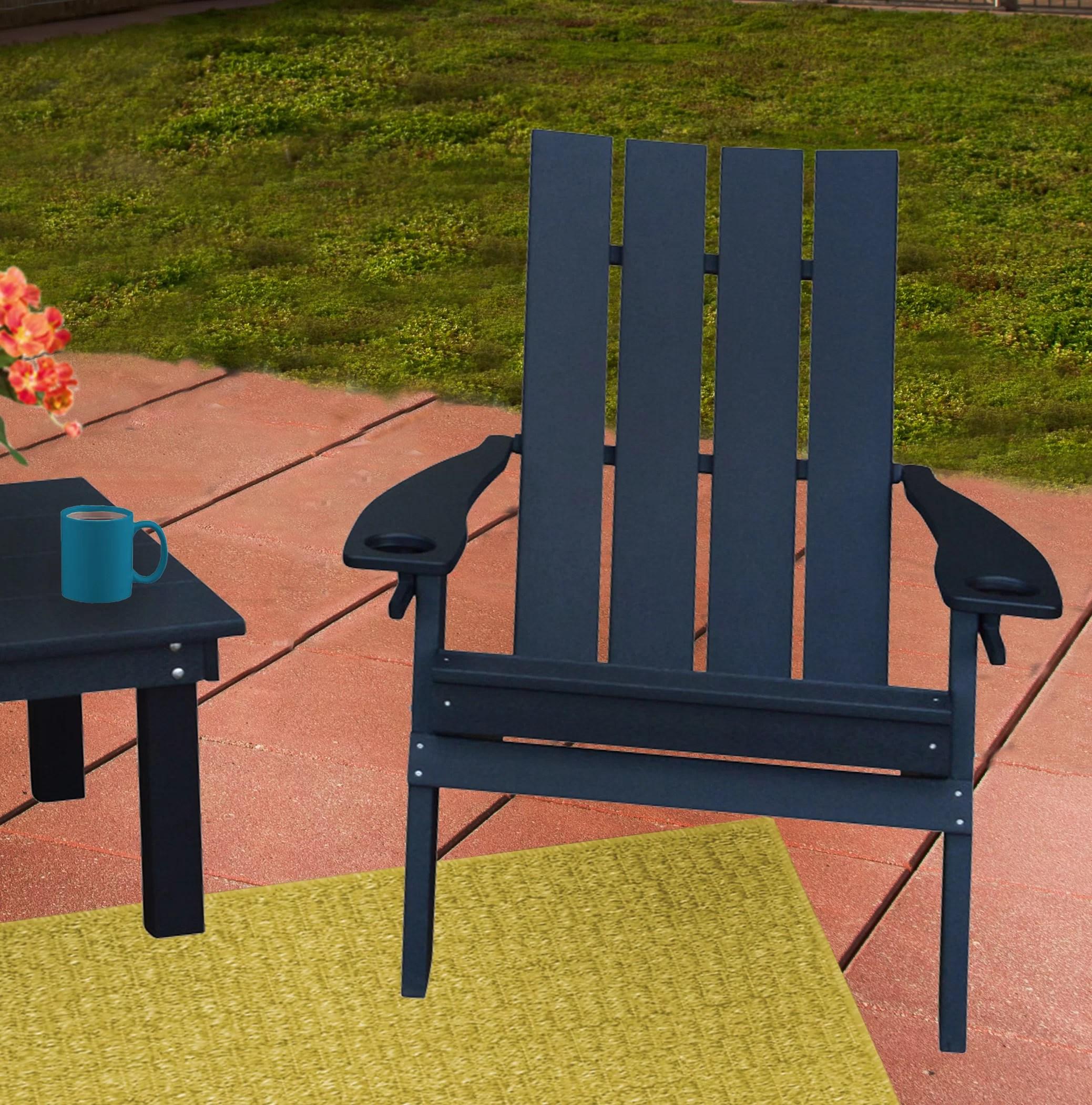 Koenig Cupholders Plastic Folding Adirondack Chair