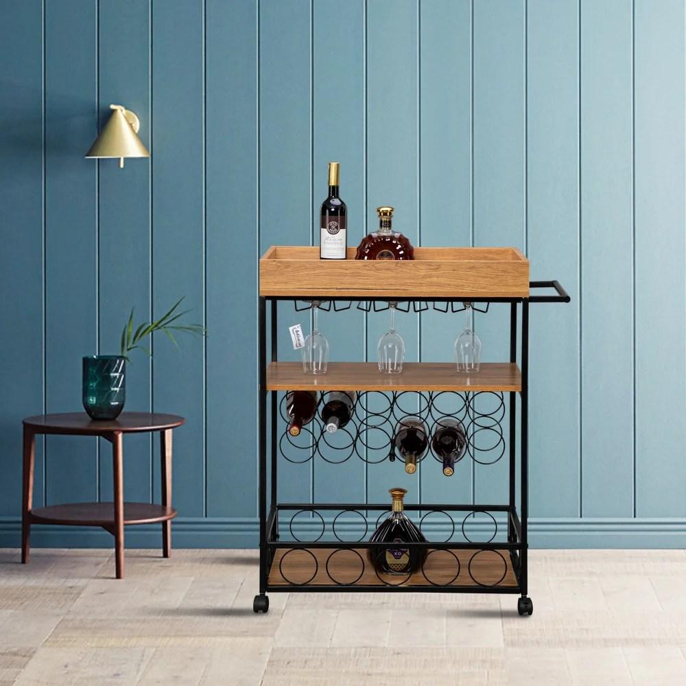 industrial wine rack cart kitchen rolling storage bar wood table serving trolley