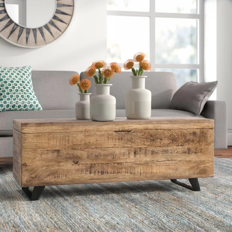 ovid solid wood lift top sled coffee table with storage