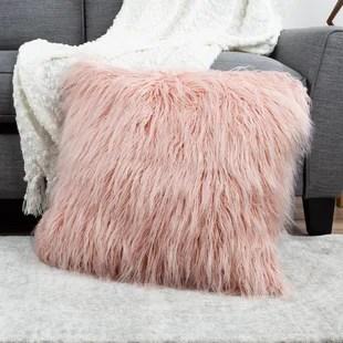 faux fur pink throw pillows you ll love