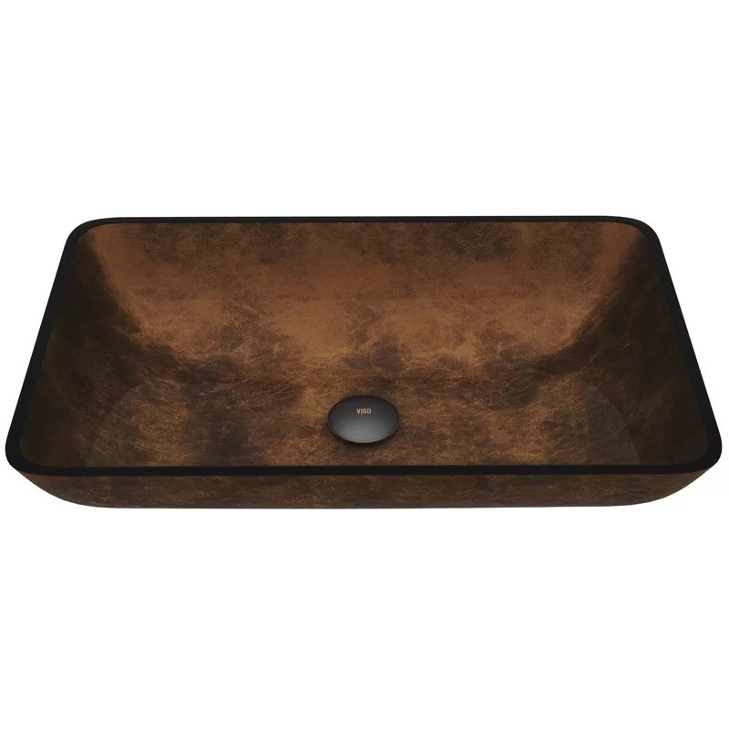 amber sunset tempered glass rectangular vessel bathroom sink