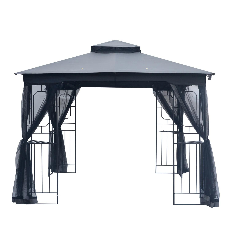 outdoor gazebo 10x10 patio gazebo with mosquito netting gazebo tent for lawn backyard and deck dark gray