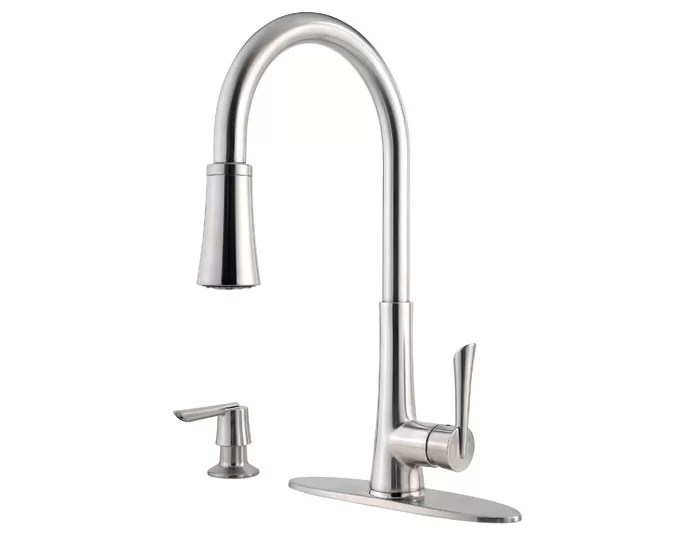 pfister mystique pull out single handle kitchen faucet with soap dispenser reviews wayfair