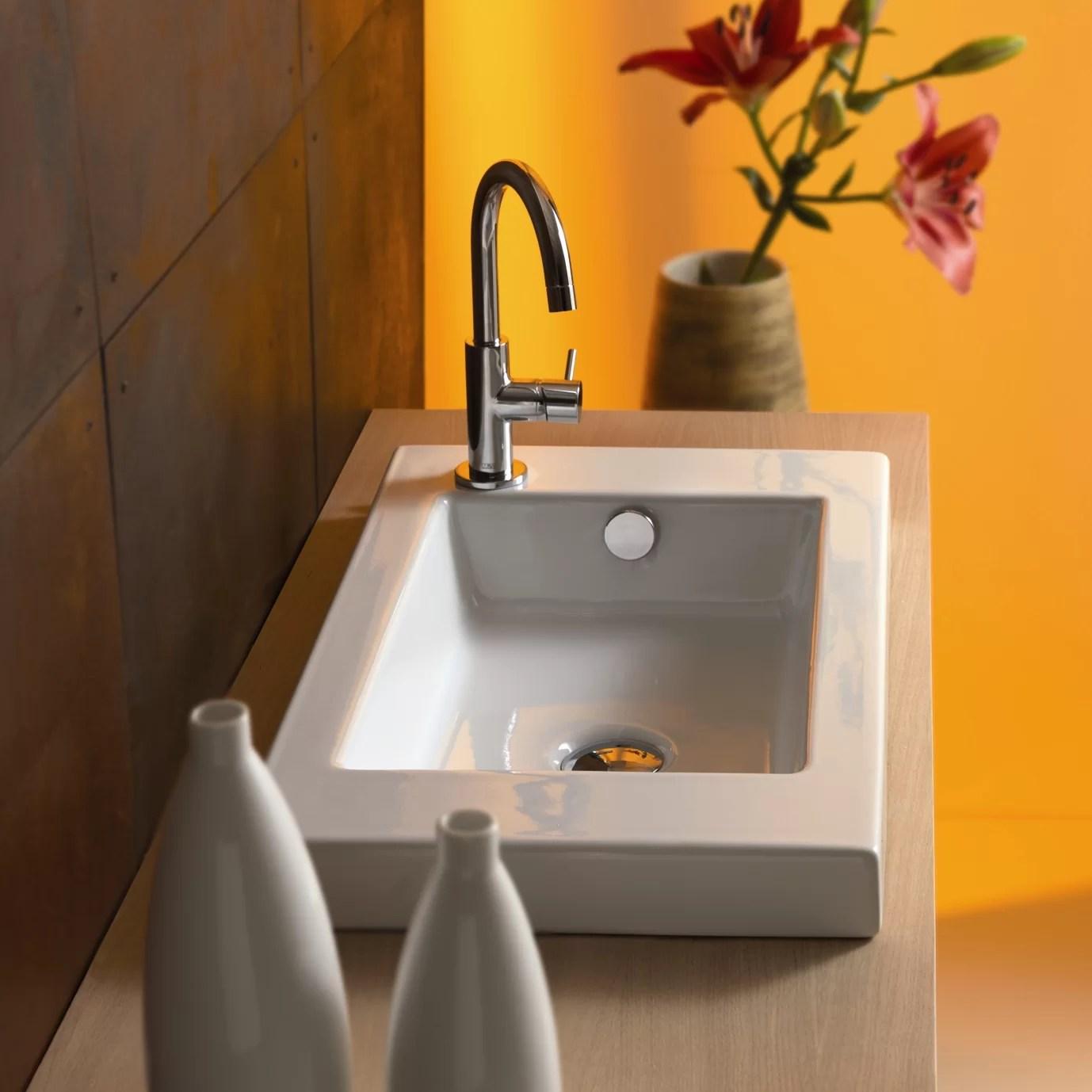 serie 35 ceramic rectangular drop in bathroom sink with overflow