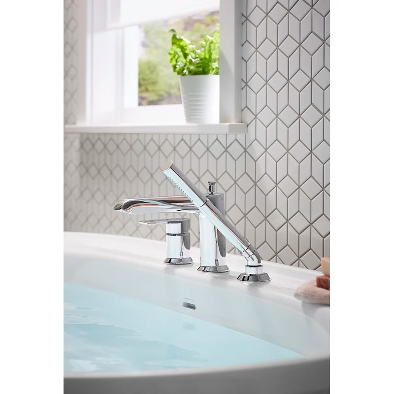 hint single handle deck mounted roman tub faucet trim with diverter