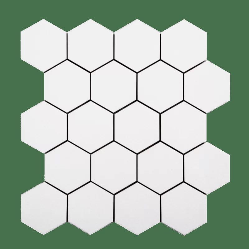 hexagon 3 x 3 glass mosaic tile in white