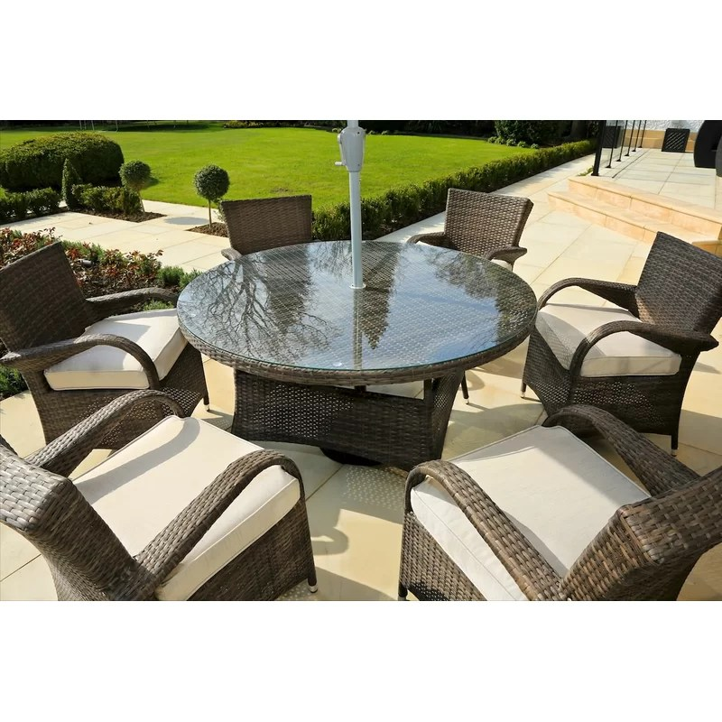 fager round 6 person 53 15 long dining set with cushions