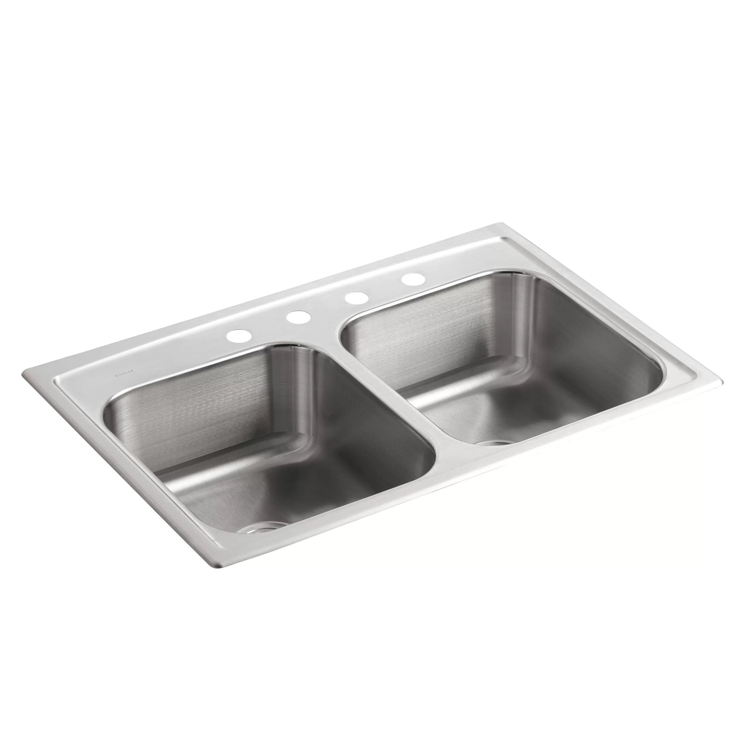 kohler toccata 33 l x 22 w drop in kitchen sink with 4 faucet holes wayfair