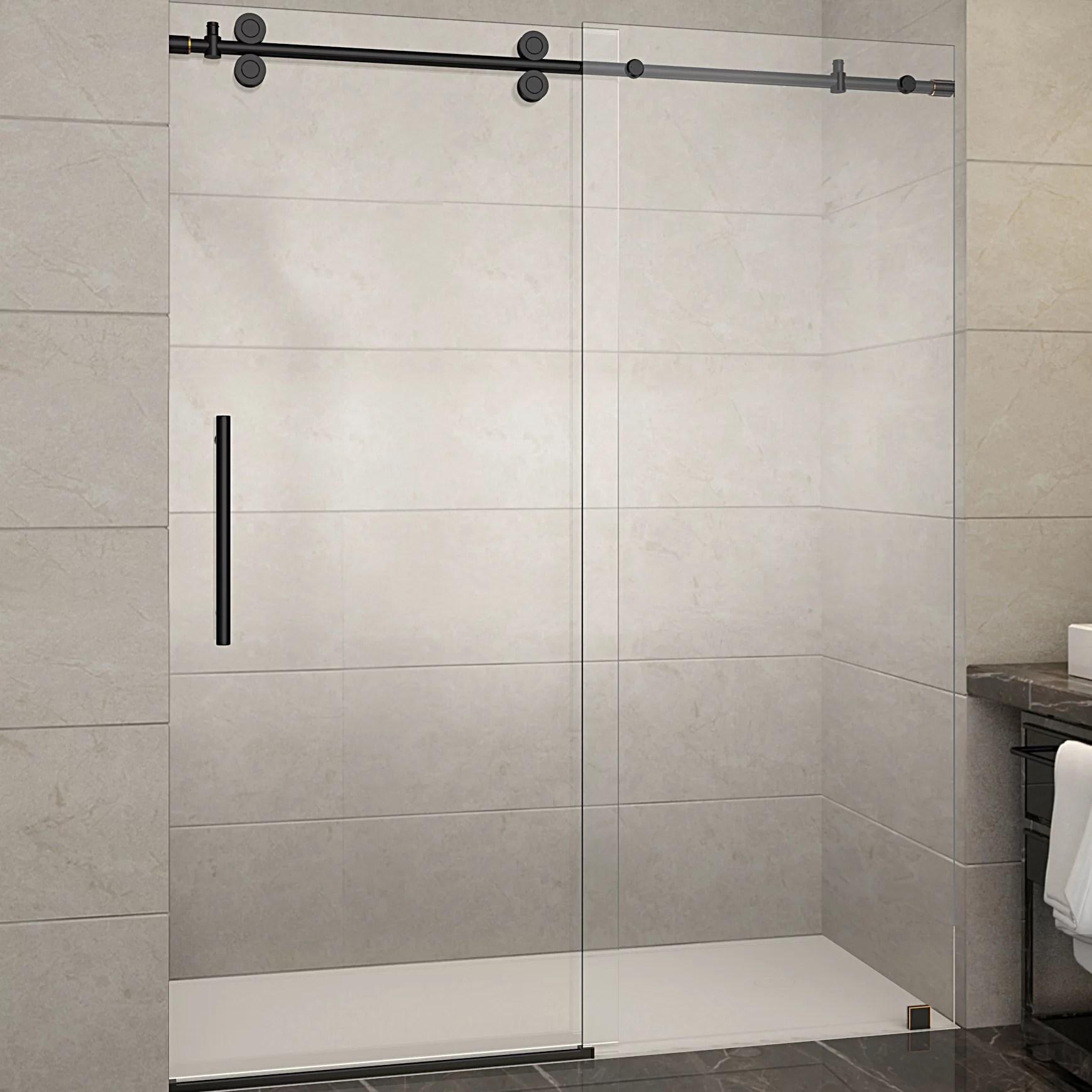 Aston Langham 60 X 75 Single Sliding Frameless Shower Door