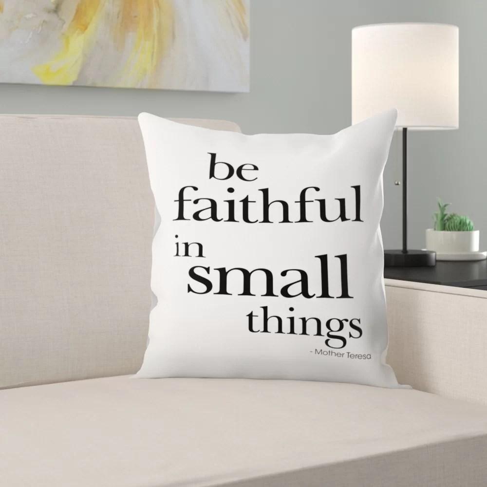 be faithful small things mother teresa black throw pillow