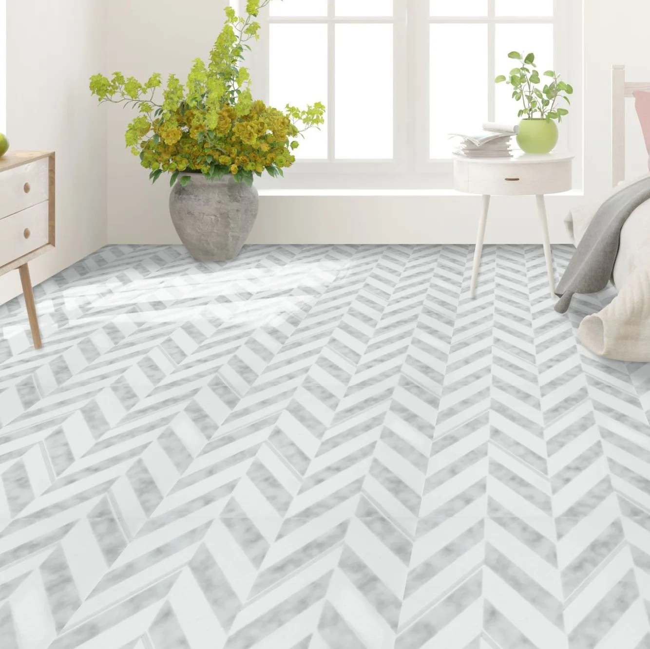 achim importing co retro 12x12 self adhesive vinyl floor tile chevron 20 tiles 20 sq ft reviews wayfair ca