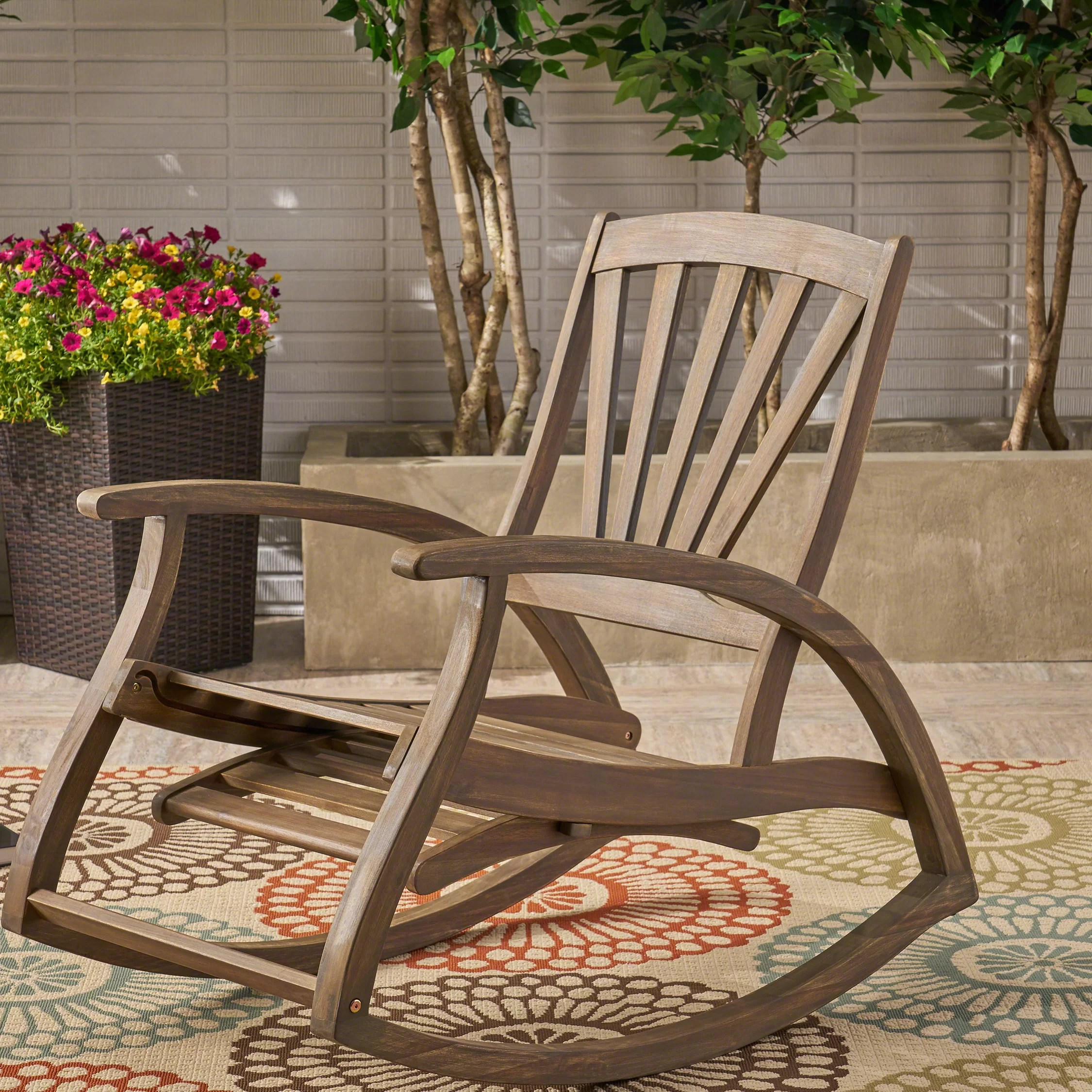outdoor wood patio rocking chairs