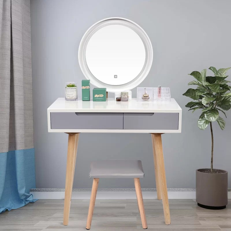 makeup vanity set with stool and mirror