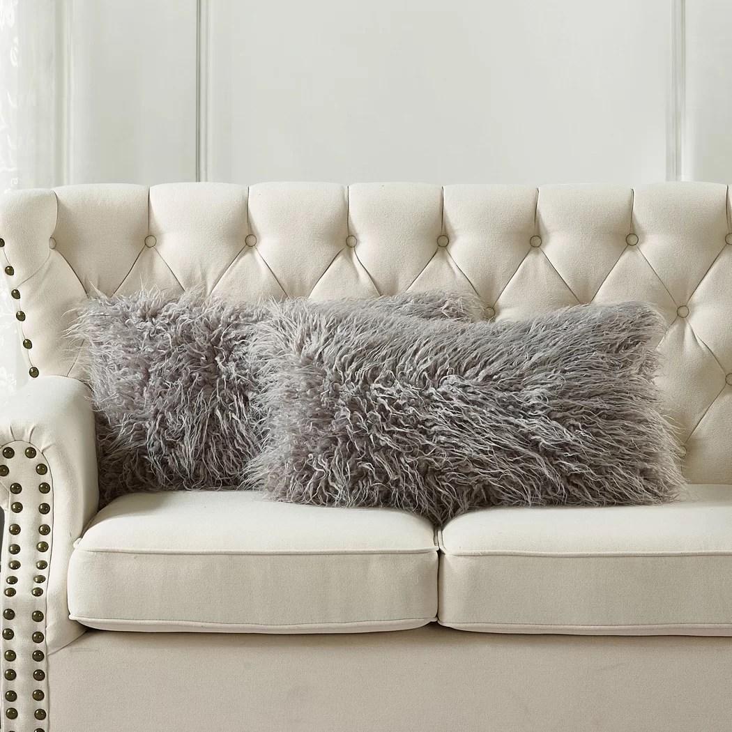 traft rectangular faux fur pillow cover