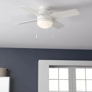 44 timpani 4 blade flush mount ceiling fan with pull chain and light kit included