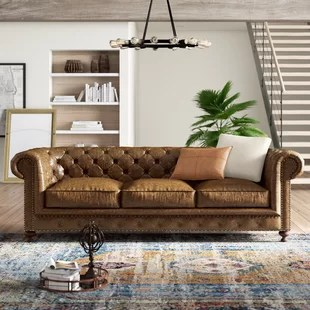 marotta genuine leather chesterfield 98 rolled arm sofa