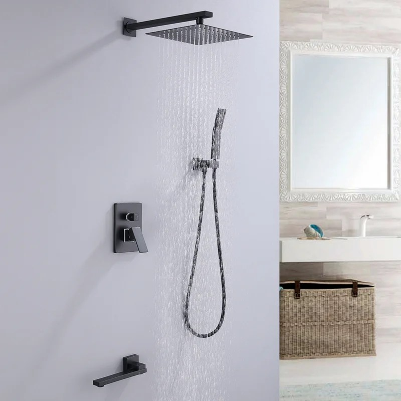 matte black tub and shower faucet set rough in valve included